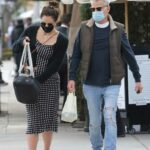 Katharine McPhee in a Black Polka Dot Dress Was Seen Out with David Foster in Beverly Hills 02/15/2021