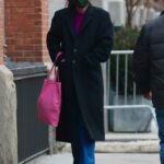 Katie Holmes in a Black Coat Was Seen Out in Manhattan's Downtown Area in NYC 02/15/2021