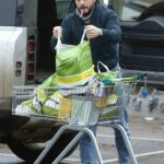 Kit Harington in a Black Bomber Jacket Shops for Groceries at His Local Supermarket in London 01/27/2021