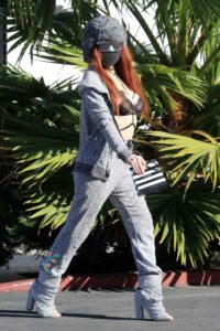 Phoebe Price in a Grey Sweatsuit