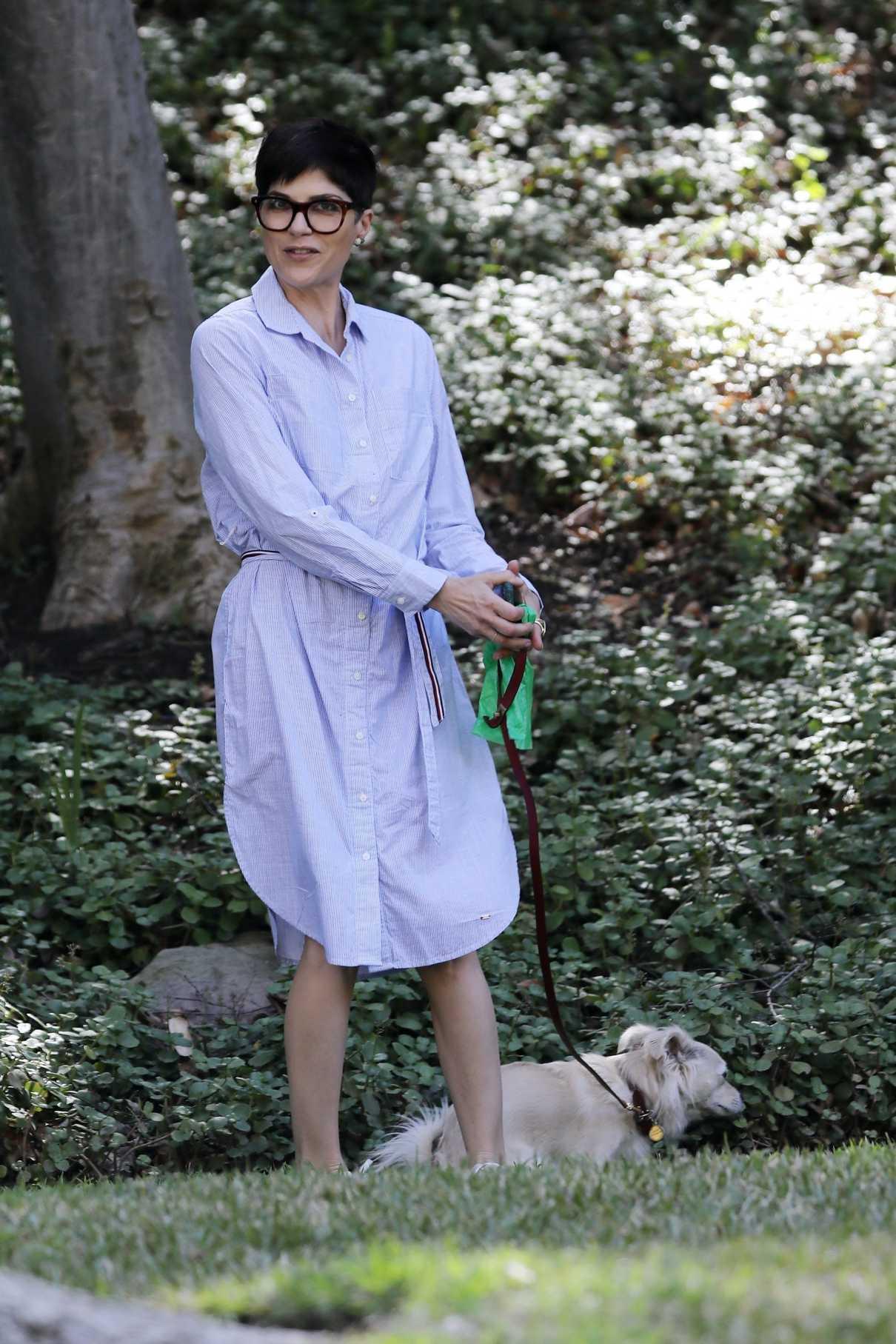 Selma Blair in a Lilac Dress