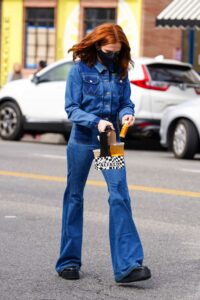 Zoey Deutch in a Blue Denim Suit