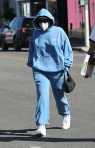 Addison Rae in a Blue Sweatsuit