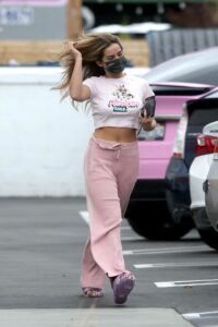 Addison Rae in a Pink Sweatpants