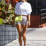 Alessandra Ambrosio in a Grey Spandex Shorts Goes Stopping at Kreation Organic in Brentwood 03/29/2021