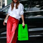 Alessandra Ambrosio in a Red Pants Leaves the Balmain Store at Melrose Place in West Hollywood 03/24/2021
