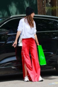 Alessandra Ambrosio in a Red Pants