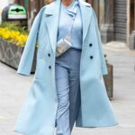 Amanda Holden in a Light Blue Outfit Leaves the Global Studios in London 03/05/2021