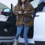 Chantel Jeffries in a Tan Plaid Jacket Arrives at a Local Hotel in Los Angeles 03/02/2021