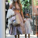 Chrissy Teigen in an Olive Protective Mask Has a Family Lunch Outing at Crustacean in Beverly Hills 03/13/2021