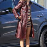 Eiza Gonzalez in a Brown Leather Coat Heads Out for Iced Coffee in Los Angeles 03/26/2021