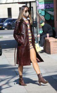 Eiza Gonzalez in a Brown Leather Coat
