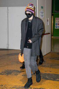 Gigi Hadid in a Black Striped Blazer