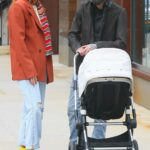 Gigi Hadid in a Red Blazer Heads for Lunch Out wih Zayn Malik and their Daughter in New York 03/25/2021