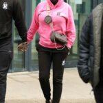 Katie Price in a Pink Hoodie Arrives at the Studios in Leeds 03/10/2021