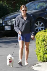 Lucy Hale in a Blue Spandex Shorts
