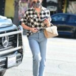 Lucy Hale in a Plaid Shirt Leaves a LaserAway Clinic in Los Angeles 03/08/2021