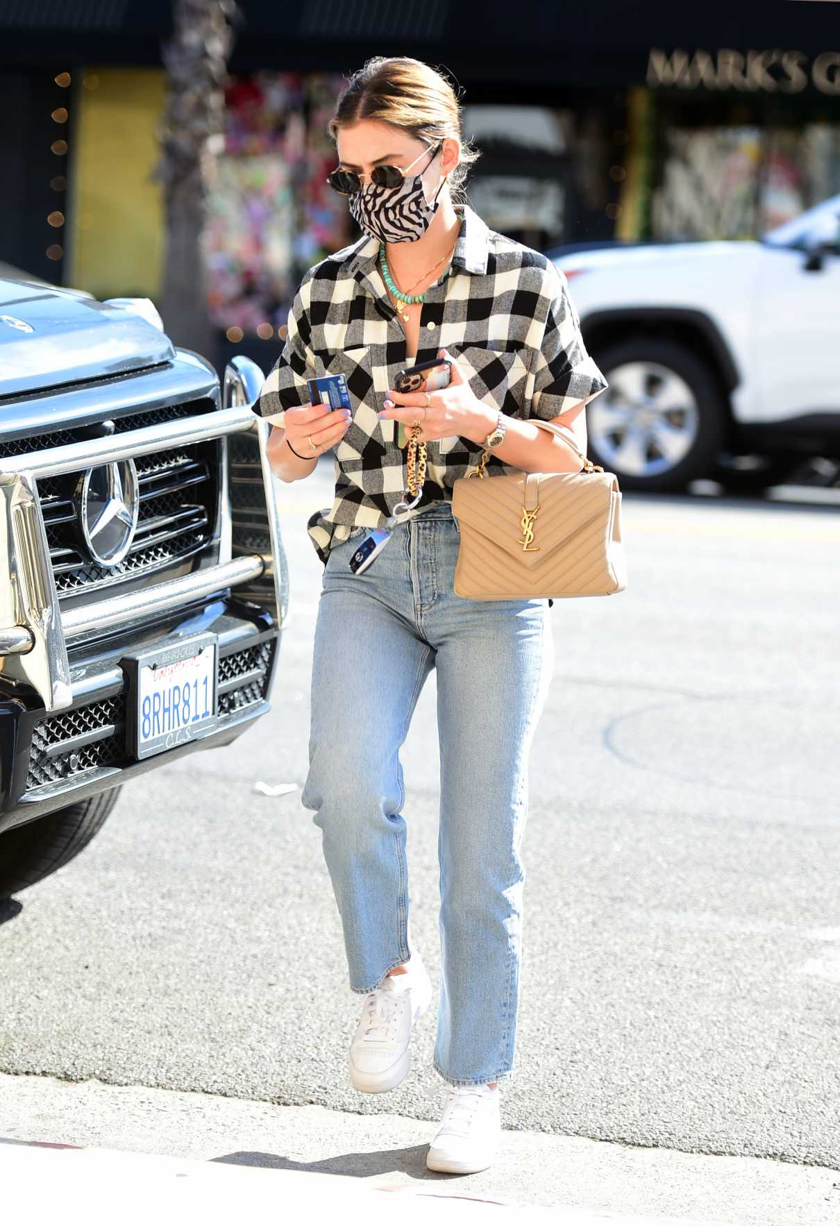 Lucy Hale in a Plaid Shirt