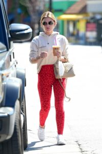 Lucy Hale in a Red Animal Print Leggings