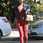 Lucy Hale in a Red Leggings Was Seen Out in West Hollywood 03/01/2021