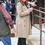 Mariska Hargitay in a Beige Coat on the Set of Law and Order: Special Victims Unit in New York 03/11/2021