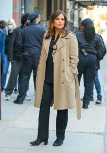 Mariska Hargitay in a Beige Coat