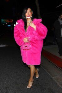 Nikita Dragun in a Pink Fur Coat