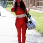Phoebe Price in a Red Workout Ensemble Was Seen Out in Los Angeles 03/23/2021