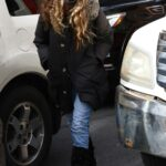 Sarah Jessica Parker in a Black Coat Arrives at Her SJP Shoe Store in New York 03/19/2021