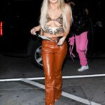 Tana Mongeau in an Orange Leather Pants Arrives to Dinner at Catch LA in West Hollywood 03/26/2021