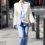 Vogue Williams in a Blue Ripped Jeans Arrives at the Global Offices in London 03/23/2021