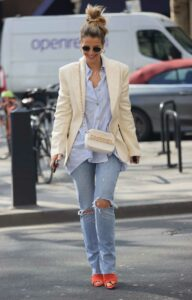 Vogue Williams in a Blue Ripped Jeans