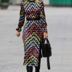 Vogue Williams in a Polka Dot Striped Dress Leaves the Heart Radio in London 03/14/2021