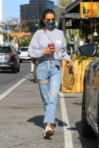Alessandra Ambrosio in a Blue Riped Jeans
