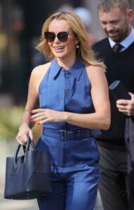 Amanda Holden in a Blue Cotton Jumpsuit