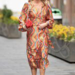 Amanda Holden in a Colorful Dress Leaves the Global Radio Studios in London 04/01/2021