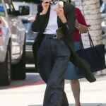 Diane Keaton in a Black Trench Coat Grabs an Ice Cream in Los Angeles 04/02/2021