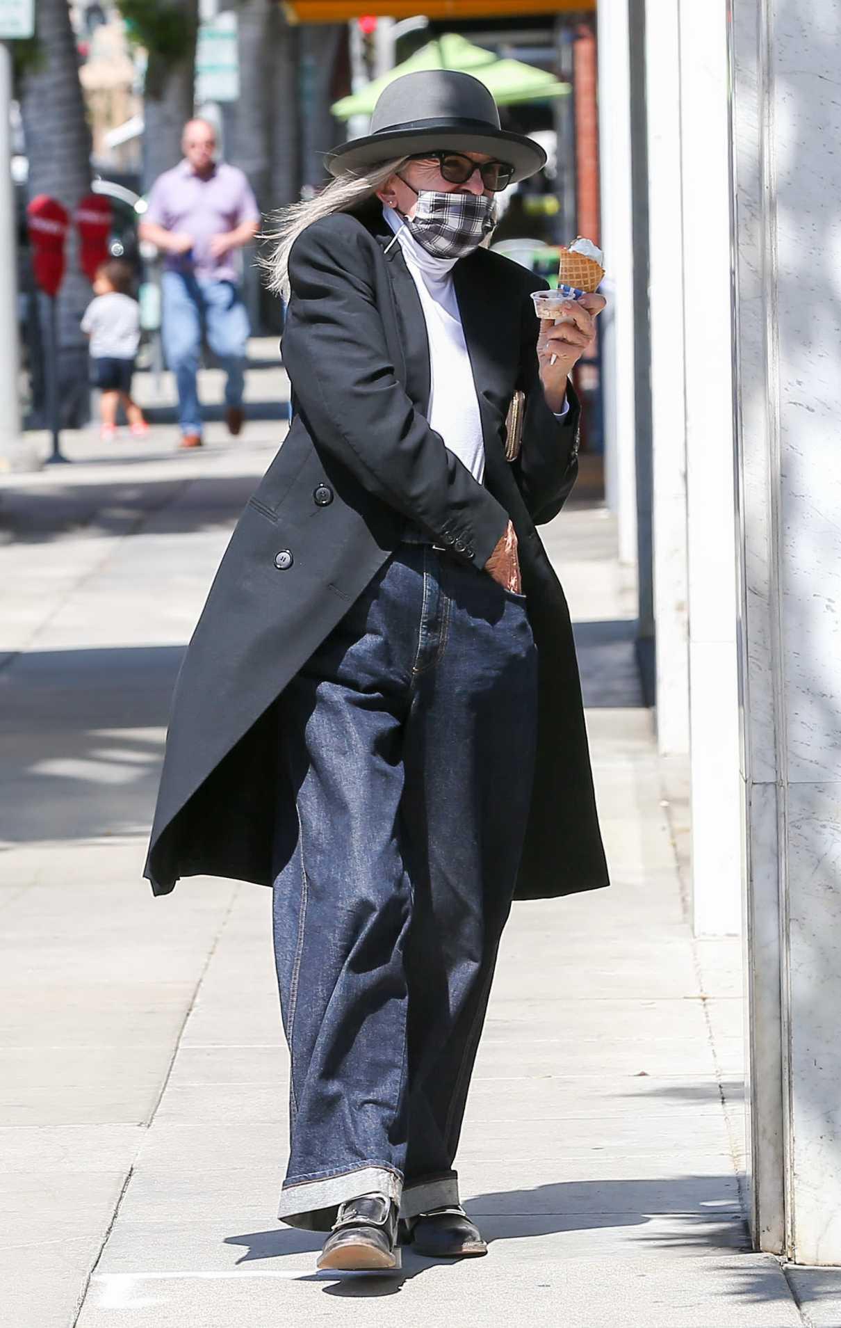 Diane Keaton in a Black Trench Coat