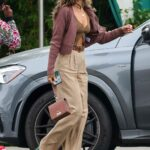 Eiza Gonzalez in a Beige Pants Leaves Brunch in West Hollywood 04/26/2021