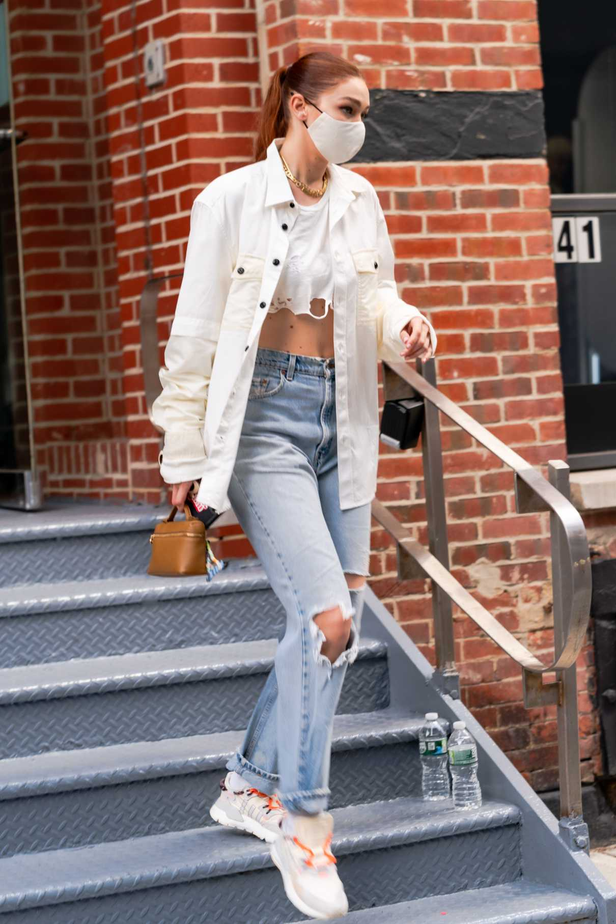 Gigi Hadid in a White Shirt