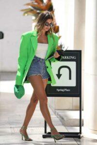 Hailey Bieber in a Neon Green Blazer