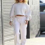 Jennifer Lopez in a White Sweatsuit Heads to a Studio in Los Angeles 04/25/2021