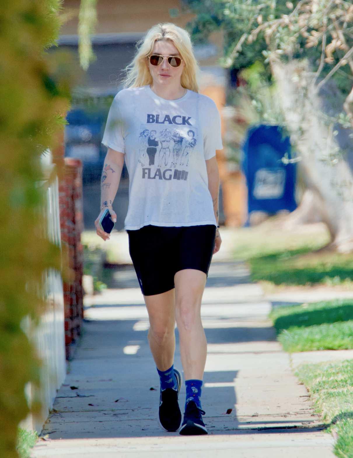 Kesha in a White Tee