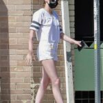Kristen Stewart in a White Shorts Has Lunch with Dylan Meyer at Little Dom's in Los Angeles 04/10/2021