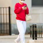 Lily-Rose Depp in a Red Sweatshirt Was Seen Out in New York City 04/05/2021