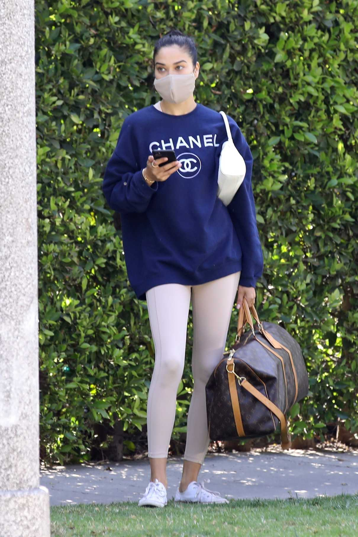 Shanina Shaik in a Blue Chanel Sweatshirt