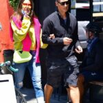 Alessandra Ambrosio in a Blue Ripped Jeans Arrives on a Lunch Date in Venice 05/21/2021
