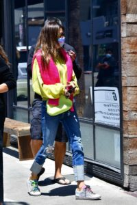 Alessandra Ambrosio in a Blue Ripped Jeans
