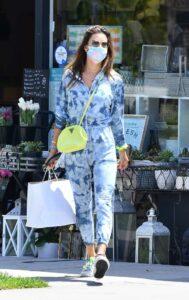 Alessandra Ambrosio in a Blue Tie-Dye Jumpsuit