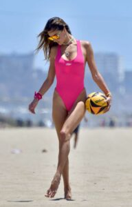 Alessandra Ambrosio in a Pink Swimsuit